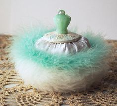 Vintage Inspired Powder Puff with Green Glass Handle