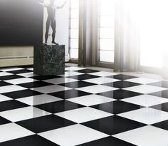 black and white square floor