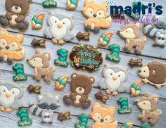 Woodland babies for Aiden's birthday Cookies For Kids, Baby Cookies, Baby Shower Cookies, Cute Cookies, Birthday Cookies, Sugar Cookies, Cake Birthday, Animal Birthday, 1st Boy Birthday