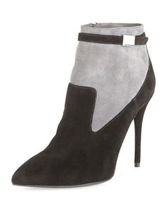 Suede Point-Toe Ankle Bootie, Black/Gray by Alexander McQueen at Bergdorf Goodman.