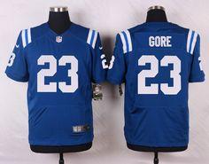 Men's NFL Indianapolis Colts #23 Frank Gore Blue Elite Jersey