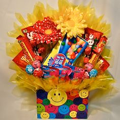 Be Happy Candy Bouquet. Purchase this item~ Visit www.heartfeltcandygifts.com