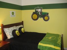 John Deere bedroom decor - If you have a child who is in love with big and noisy equipment John Deere tractors, you decorate your room in a way that suits Ikea Design, Kids Bedroom, Bedroom Decor, Bedroom Ideas, Nursery Ideas, Wall Decor, John Deere Bedroom, John Deere Decor, Braun Design
