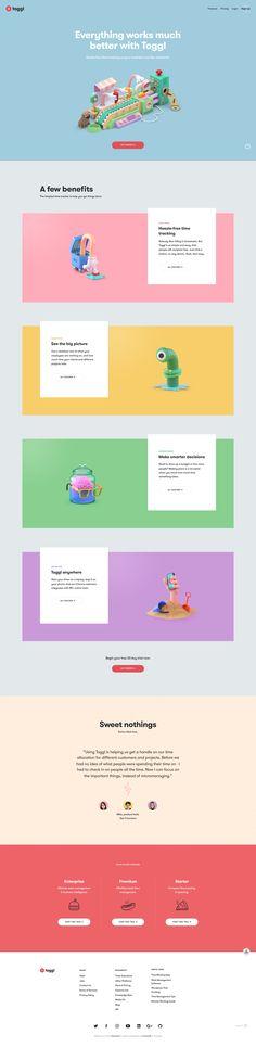 Toggl homepage Clean Web Design, Minimal Web Design, Web Design Tips, Page Design, Graphic Design, Design Websites, Flat Design, Design Design, Design Ideas
