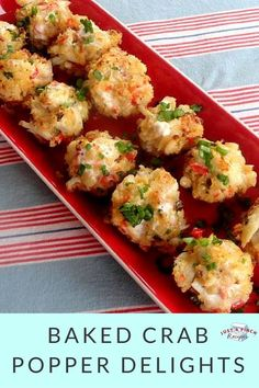 Baked Crab Popper Delights is part of Seafood appetizers Easy - The perfect crab appetizer! No one needs to know how quick and easy these are With a bit of heat, the red pepper adds a punch of flavor and the sauce you brush on top is a great touch Crab Appetizer, Seafood Appetizers, Finger Food Appetizers, Seafood Dishes, Yummy Appetizers, Appetizers For Party, Appetizer Recipes, Avacado Appetizers, Prociutto Appetizers