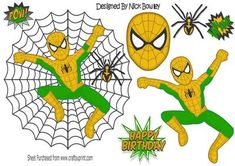 green gold spiderman in spider web with spider A4 on Craftsuprint - Add To Basket!