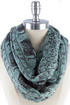 Elephant Infinity Scarf in Mint