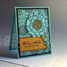 Stampin' Up! Blended Bloom, Greeting Card Warmest Wishes Birthday Zinnia Floral by JanTink Making Greeting Cards, Greeting Cards Handmade, Card Making Inspiration, Making Ideas, Scrapbook Cards, Scrapbooking, Stampin Up Catalog, Alice, Thing 1