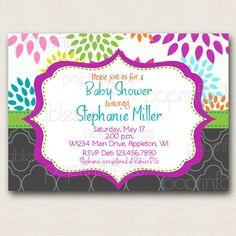 Mod Dahlia Baby Shower Invitation - DIY PARTY PRINTABLE. $12.00, via Etsy.