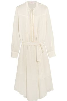See by Chloé | Belted cotton and linen-blend gauze midi dress | NET-A-PORTER.COM