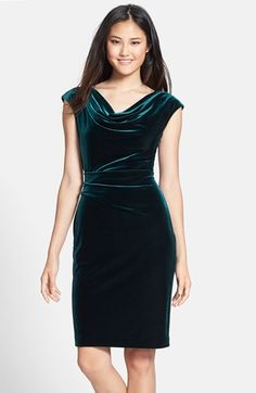 Free shipping and returns on Vince Camuto Drape Neck Ruched Velvet Sheath Dress at Nordstrom.com. Gorgeous, supple velvet elevates a classic sheath dress with rich, decadent texture. A gently draped neckline graces the top while dainty gathers effortlessly slim the waist.