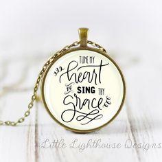 Moje serce dostroić do śpiewać thy grace naszyjnik naszyjnik wisiorek hymn hymn inspirujące christian biżuteria prezent