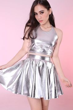 Image of Made To Order - Sienna Silver Halter & Skirt Set Girly Outfits, Cute Outfits, Fashion Outfits, Cute Skirts, Mini Skirts, Dress Skirt, Skirt Set, Mode Kawaii, Space Fashion