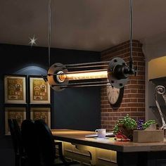 Industrial Vintage Flute Iron Pendant Lamp Bar lamp Hanging Ceiling Lights G215