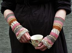 Total Colorization: Tea with Rose Tones - crocheted open work lacy romantic wrist warmers