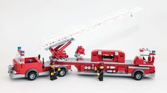 https://flic.kr/p/Em5kX7 | Hook and Ladder | This MOC is meant to evoke classic 1970s-era open-cab hook and ladder trucks. Serious model builders avert your eyes -- I don't know anything about fire trucks, just having fun.  The goal of this series of fire trucks is to add period character while using standard LEGO City 6-wide truck techniques, dimensions, and parts -- easy to build and playable.  For more photos, see the full set.