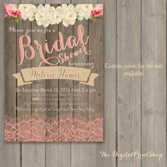 Rustic Baby, Lingerie, Bridal shower invite, wood pink peonies lace, shabby chic INVITATION Printable DIY (91) Digital Downloadable (.jpg) on Etsy, $11.99