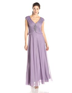 Cap Sleeve V-Neck Beaded Gown by Jessica Howard