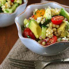 Grilled Corn and Avocado Salad with Cilantro Vinagrette.