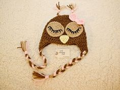 sleepy owl earflap hat $15