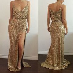 Spaghetti Strap Sequins Sleeveless Pure Color Long Party Dress