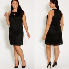 Little Black Allover Lace Sheath Dress Plus Sizes Plus Size 2 (20/22) 3 (24/26) & 4 (28) ethnic patterned lace fully lined halter neck with peek-a-boo detail keyhole back with two buttons pleated front perfect for any ocassion measures approx. 38 inches from top of shoulder to bottom hen 100% polyester machine wash Maurices Dresses