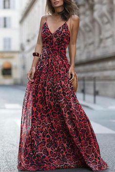 bb16e9d8a6d741 Sexy Red Sleeveless Leopard Print Maxi Dress. Animal Print FashionFashion  ...