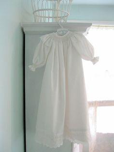 Smocked Christening Dress Blessing Gown Newborn by enfantjoli