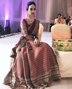 Buy Online Punjabi Wedding Lehenga Designer Collection Call/ WhatsApp us 77164 Half Saree Lehenga, Lehnga Dress, Lehenga Style, Anarkali, Lehanga Saree, Pink Half Sarees, Fancy Sarees, Half Saree Designs, Saree Blouse Designs