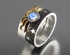 SOLAR ECLIPSE Sun and Moon Engagement set with Moonstone