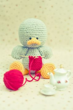 An Amigurumi a day - Duckling: Tea time...