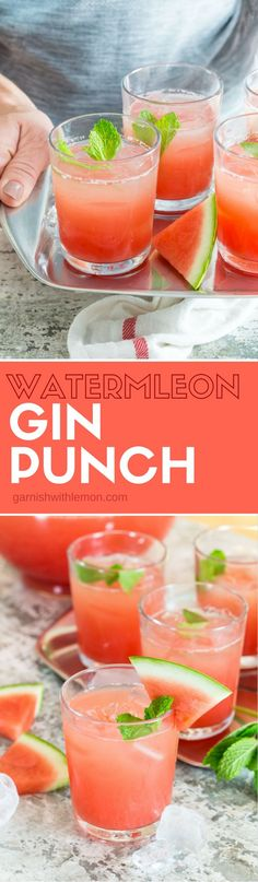 Don't play bartender at your next party! This Watermelon Gin Punch is a gorgeous, make-ahead batch cocktail recipe that is great for a group! It's your new summertime go-to drink!