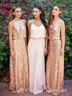 ae2650e684f Cheap Pink Lace Sparkly Sequin Gold Mismatched Bridesmaid Dresses PB10102