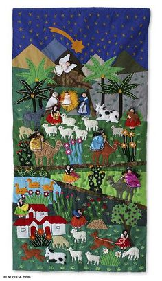 Nativity Scene Tapestry Handmade Appliqué Wall Hanging Christmas Eve NOVICA Peru for sale online Christmas Sewing, Christmas Nativity, Christmas Crafts For Kids, Christmas Eve, Christmas Stars, Nativity Crafts, Crochet Christmas, Applique Wall Hanging, Quilted Wall Hangings