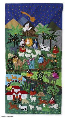Nativity Scene Tapestry Handmade Appliqué Wall Hanging Christmas Eve NOVICA Peru for sale online Christmas Sewing, Christmas Crafts, Christmas Eve, Christmas Nativity, Christmas Stars, Christmas Scenes, Crochet Christmas, Pach Aplique, Applique Wall Hanging