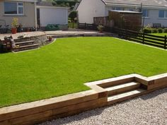 Terrace created with new timber sleepers and newly laid lawn and raised beds 5 Backyard Retaining Walls, Sloped Backyard, Gravel Patio, Sloped Garden, Backyard Trampoline, Backyard Patio, Backyard Landscaping, Railroad Ties Landscaping, Patio Wall