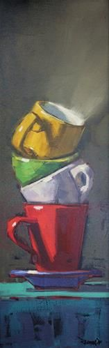 """Daily Paintworks - """"Stacked Cups"""" by Cathleen Rehfeld"""