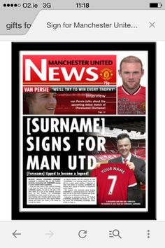 Manchester United official personalised neswpaperr, includes your name, age.  favourite jersey number and new manager Louis Van Gaal, fully framed and delivered to your door, only at www.totalgiftz.com Manchester United Gifts, Manchester United Official, Manchester United Legends, Van Persie, Man United, Gifts For Boys, How To Become, Names, The Unit