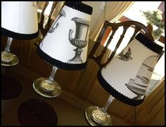 dyi--wine glass lamp shade candle holder