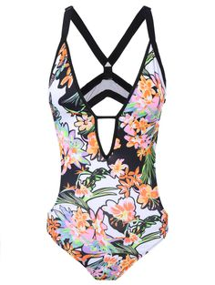 Wire Free Floral Print Plunging Neck Swimwear #women, #men, #hats, #watches, #belts