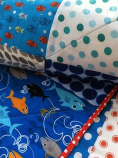 Big fishes & tiny fishes blue quilt/wall hanging on Etsy, $88.00