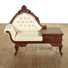 Walnut French Gossip Bench Telephone Sofa