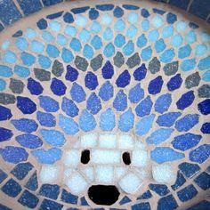 Luna erizo mosaico jardín patio aves agua baño por JoSaraUK en Etsy