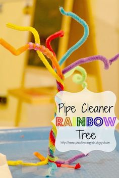 Pipe Cleaner Rainbow Tree to work on fine motor skills and color recognition/ matching