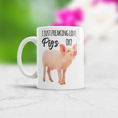 I Just Freaking Love Pigs Ok Cute Pig Coffee Mug Birthday Present for Pig Lovers Color Changing Cup or White Cup Farmer Gift Pink Piggy Coffee Barista, Coffee Mugs, Cheap Coffee Maker, Animal Mugs, Gifts For Farmers, Brewing Equipment, White Cups, Cute Pigs, Cat Mug