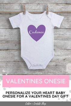 Personalized baby bodysuit with heart. Cute gift idea for Valentines Day, baby shower, mother's day, newborn baby, and new parents. Also makes a good outfit for cake smashing! Available in multiple colours and sizes. We also do custom designs upon request! Check out our Etsy or Shopify page for complete options. #giftsforbaby #bodysuit #valentinesdaygift