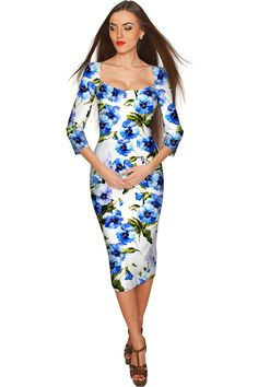 Lili White & Blue Floral Bodycon Dress - Women