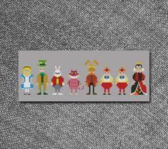 Cross Stitch Pattern Alice in Wonderland Characters by Kiokiz