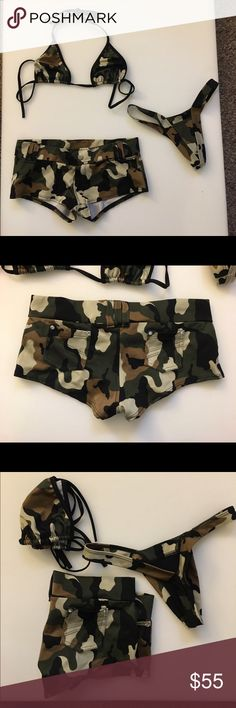 Camouflage Dance Outfit New without tags, never worn. Comes with top, bottoms, and matching thong. Intimates & Sleepwear