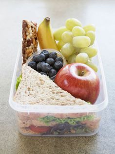 Brown bag it!  I like the idea of half a sandwich.  Fill up the rest with fruit and veggies.
